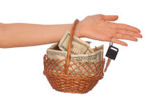Basket With Money Royalty Free Stock Photos