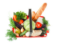 Basket With Products Royalty Free Stock Images