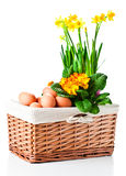 Basket With Spring Flowers And Eggs Royalty Free Stock Photos