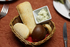 Basket With Various Bread And Butter Royalty Free Stock Photo