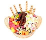 Basket With Various Sweets And The Cookies, Isolated Royalty Free Stock Photo