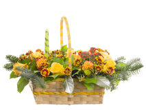 Basket withl flowers Stock Photos