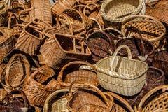 Basket. Wooden hand-woven baskets for harvesting fruit vegetable Royalty Free Stock Photo