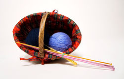 Basket with wool. Basket with blue wool and knitting needles Royalty Free Stock Photos