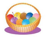 Basket of wool Royalty Free Stock Images