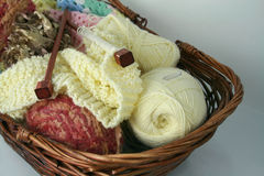 Basket of Wool and Knitting Royalty Free Stock Photo