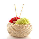 Basket with wool and needles Royalty Free Stock Image