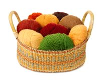 Basket of wool yarn Stock Image