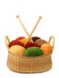 Basket of wool yarn Royalty Free Stock Images