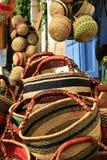 Basket work on street market. Various baskets on a street market store Stock Photos