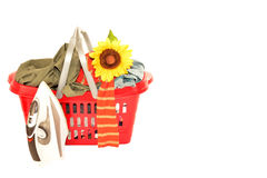 Basket of wrinkled clothes and iron isolated Royalty Free Stock Photo