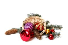 Basket and xmas embellishment. Stock Photo