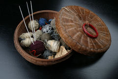 Basket of Yarn Stock Photography