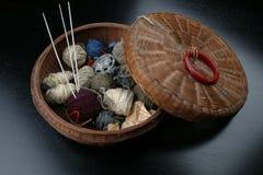 Basket of Yarn. With crochet needles Stock Photography