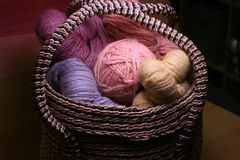 Basket of Yarn Royalty Free Stock Images