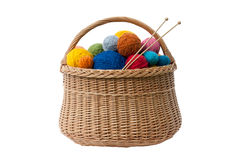Basket with Yarn Balls stock photos