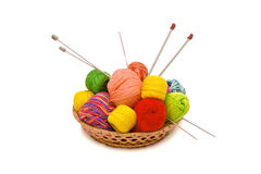 Basket with yarn Stock Photography