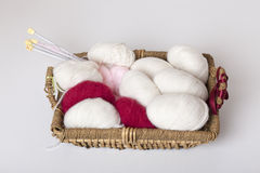 Basket with yarn Royalty Free Stock Images