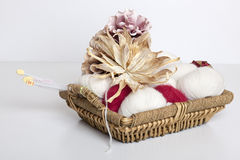 Basket with yarn Royalty Free Stock Image