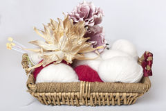 Basket with yarn Stock Photo