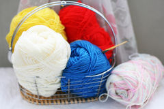 Basket of yarns Royalty Free Stock Image