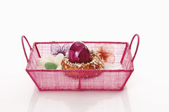 Basket with yeast wreath and easter egg royalty free stock photos