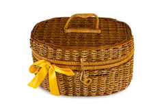 Basket with yellow bow Royalty Free Stock Image