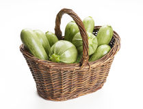Basket of zucchini Stock Images