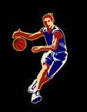 Basket002. Silhouette of the running basketball player with a ball. Vector Stock Images