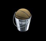 Basketbal binnen het basketbaluitdrukking van de metaalemmer Stock Foto's