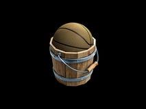 Basketbal binnen houten emmer Royalty-vrije Stock Foto's