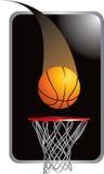 Basketbal dat in hoepel gaat vector illustratie