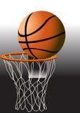 Basketbal De bal in de mand Royalty-vrije Stock Afbeeldingen