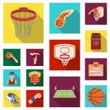 Basketbal en attributen vlakke pictogrammen in vastgestelde inzameling voor ontwerp Basketbalspeler en voorraad van het materiaal stock illustratie