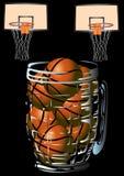 Basketbal en biermok Stock Foto's