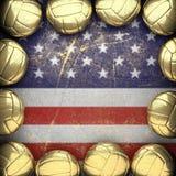 Basketbal en de muurachtergrond van de V.S. Stock Afbeeldingen
