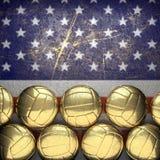 Basketbal en de muurachtergrond van de V.S. Stock Afbeelding