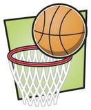 Basketbal en Hoepel Royalty-vrije Stock Fotografie