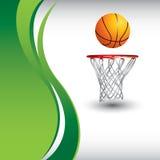Basketbal en hoepel op verticale groene golfadvertentie stock illustratie