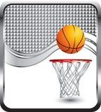Basketbal en hoepel op zilveren geruite advertentie royalty-vrije illustratie