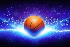 Basketbal en krachtige blauwe bliksem stock afbeelding