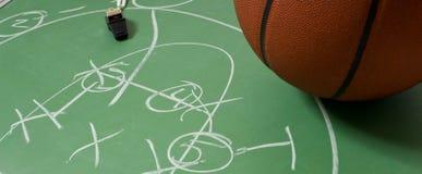 Basketbal met spel op een bord Royalty-vrije Stock Afbeelding
