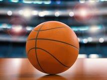 Basketbal op de vloer Royalty-vrije Stock Foto's