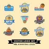 Basketbal Vectorlogo set Royalty-vrije Stock Foto