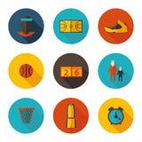 Basketbal vlakke pictogrammen Royalty-vrije Stock Fotografie