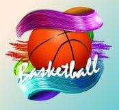 Basketbalbal en tekst abstracte sport als achtergrond Royalty-vrije Stock Foto
