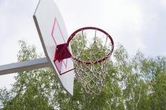 Basketbalhoepel in het Park op groene bomen als achtergrond Royalty-vrije Stock Fotografie