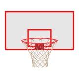 Basketbalhoepel op rugplank op witte achtergrond wordt geïsoleerd die Royalty-vrije Stock Foto