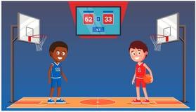 Basketbalhof met basketbalspelers scorebord met een gelijkescore Sporthal stock illustratie