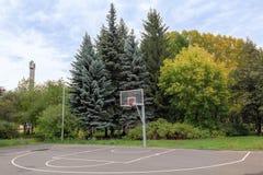 Basketbalhof met een ring, in het de herfstpark dat wordt gevestigd stock foto